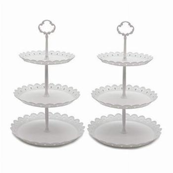 2 Pcs 3-Tier Cupcake Stand Fruit Plate Cakes Desserts Fruits