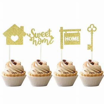 36 PCS Sweet Home Cupcake Toppers Gold Glitter key