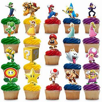 38 Decorations for Mario Cupcake Toppers Set Birthday Cake