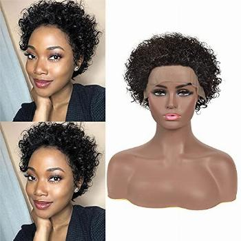 Baby Young Hair Short Curly Human Hair Lace Front Wigs Pixie