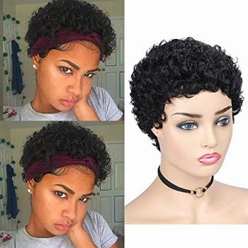 HANNE Short Curly Human Hair Wigs for Black Women 100% Remy