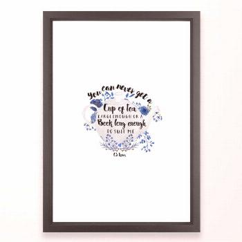 Tea & Books (cs Lewis Quote) Framed Art Print by Paperfury - Vector Black - SMALL-15x21