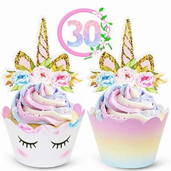 Unicorn Cupcake Toppers and Wrappers Decorations (30 of